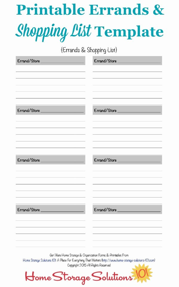 Printable Grocery List Templates Beautiful Printable Errands & Shopping List Template