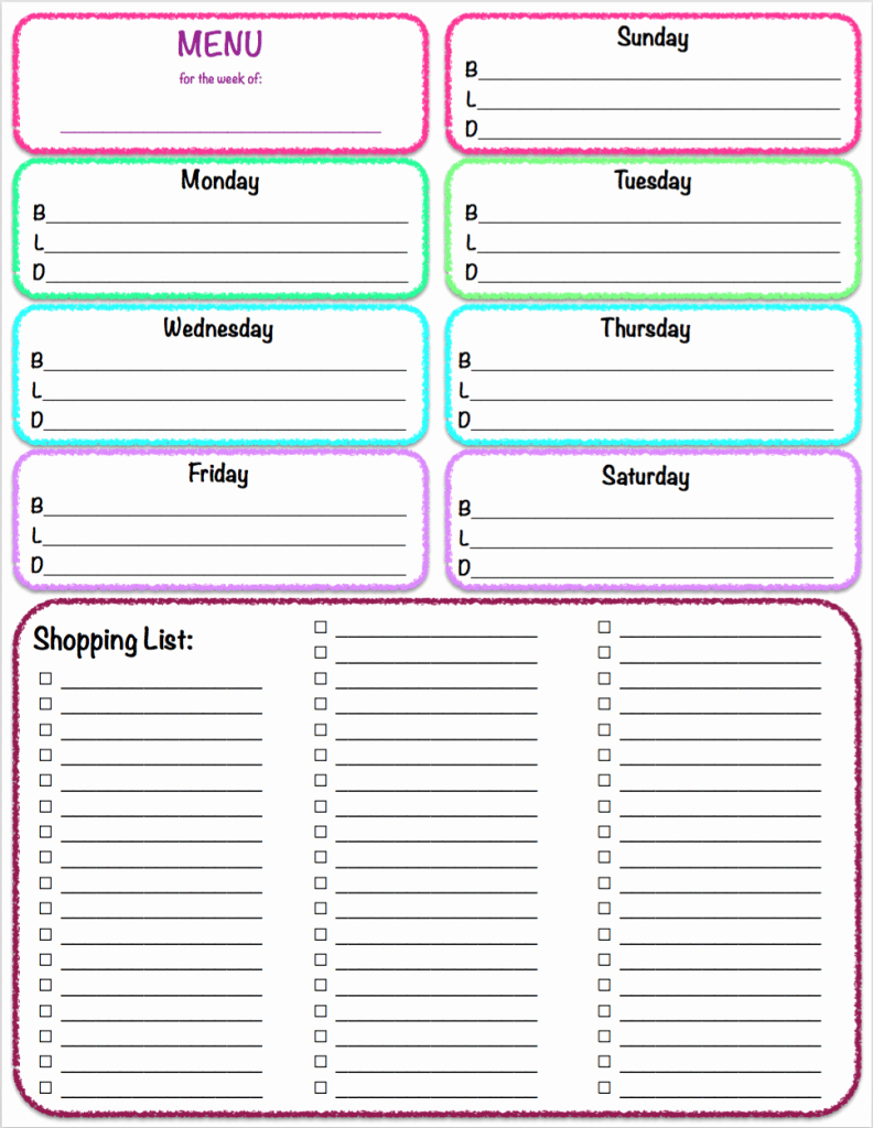 Printable Grocery List Templates Fresh Menu & Grocery Printables