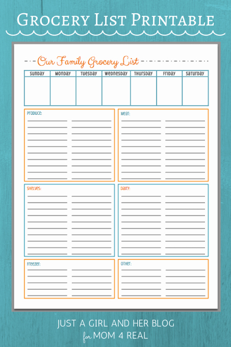 Printable Grocery List Templates Inspirational Free Grocery List Printables 3 Colors Mom 4 Real