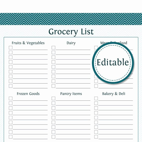Printable Grocery List Templates Inspirational Grocery Shopping List with Categories Fillable Printable
