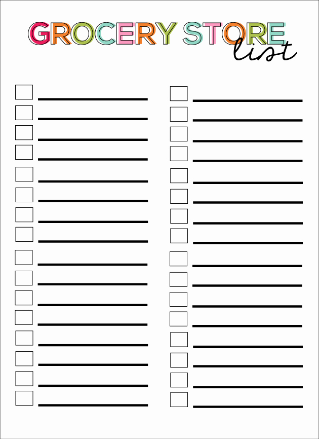 Printable Grocery List Templates Lovely 28 Free Printable Grocery List Templates