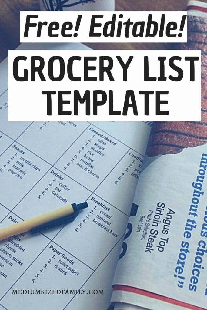 Printable Grocery List Templates Lovely A Free Editable Grocery List Template that Will Cut Plan