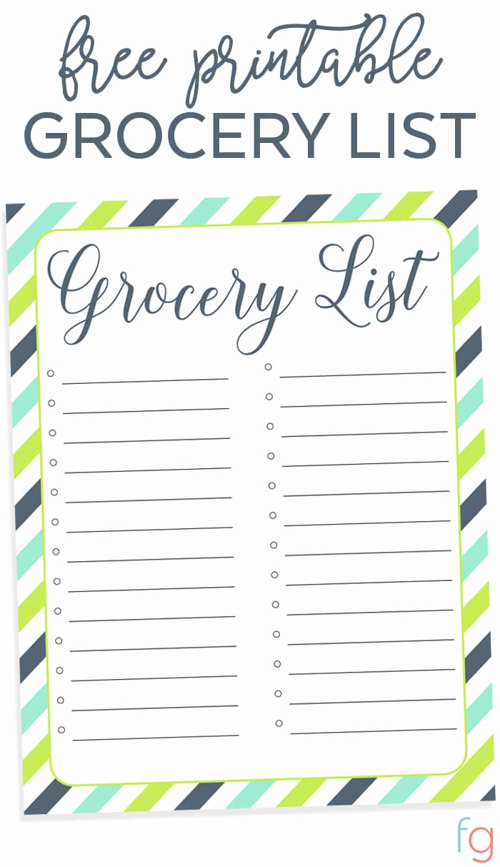 Printable Grocery List Templates New Free Printable Grocery List Free organizing Printable