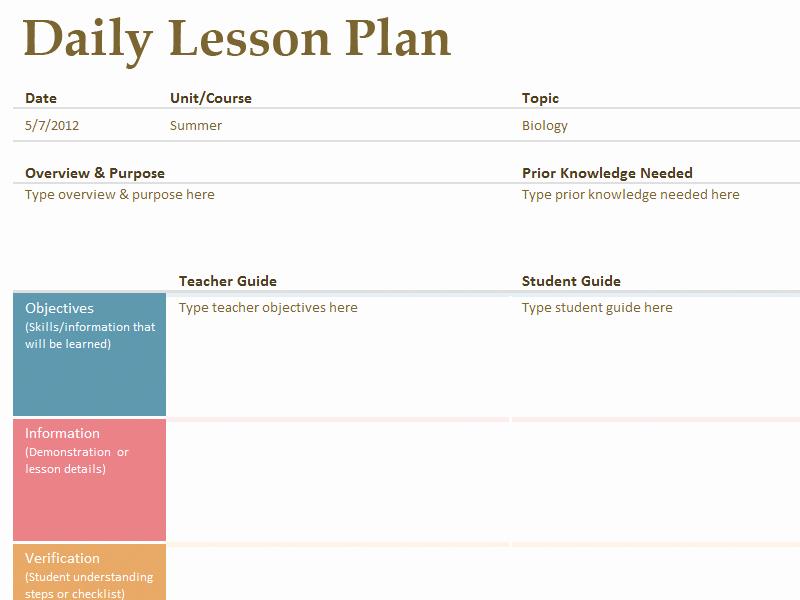 Printable Lesson Plan Template Fresh Printable Lesson Plan Template Free to