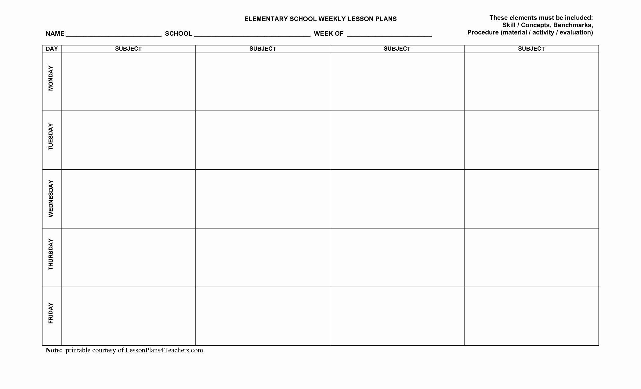 Printable Lesson Plan Template Luxury Blank Weekly Lesson Plan Templates Mqfotfas