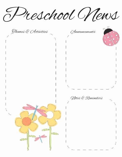 Printable Newsletter Templates Free Elegant Preschool Spring Newsletter Template 2