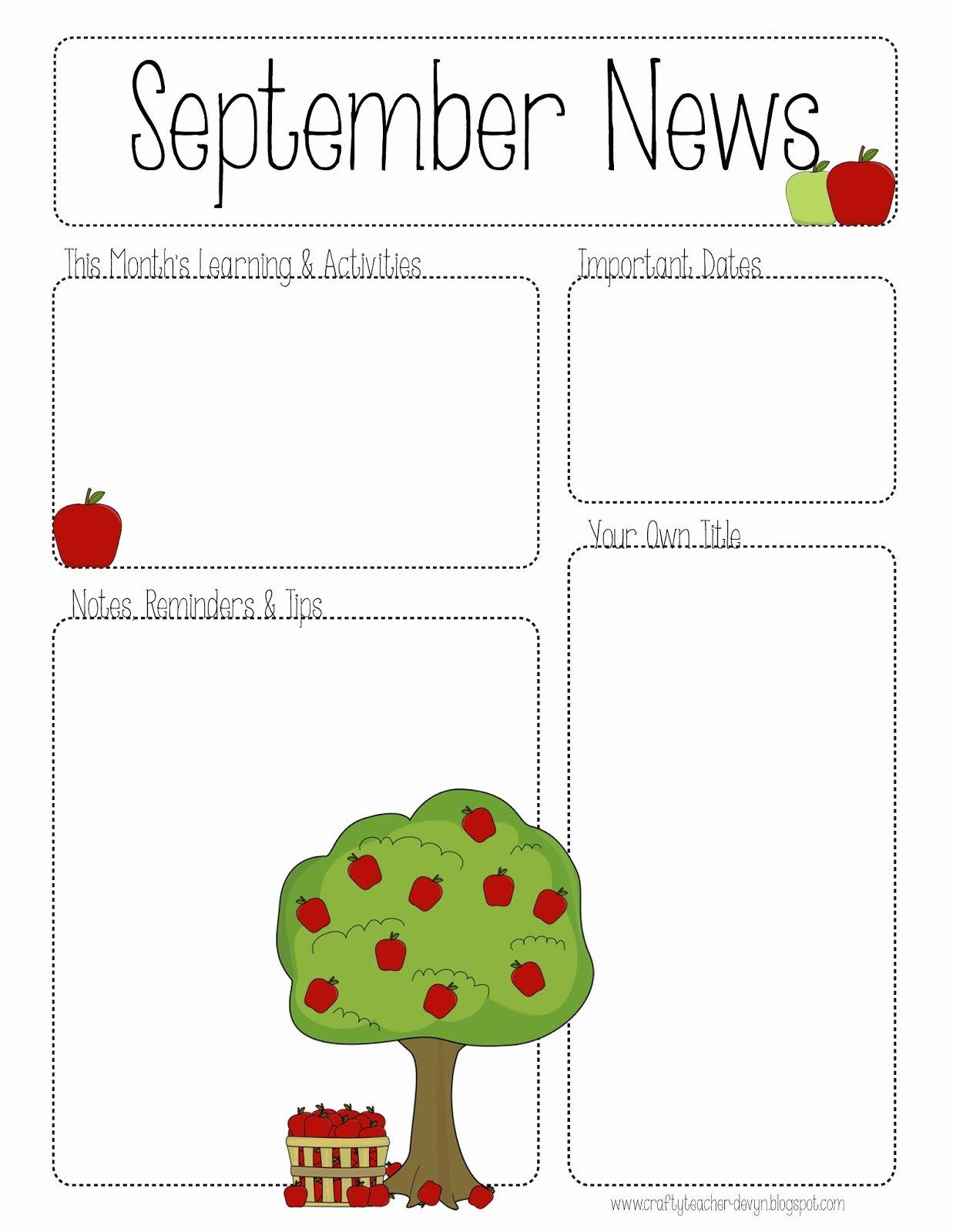 Printable Newsletter Templates Free Fresh September Printable Newsletter All Grades
