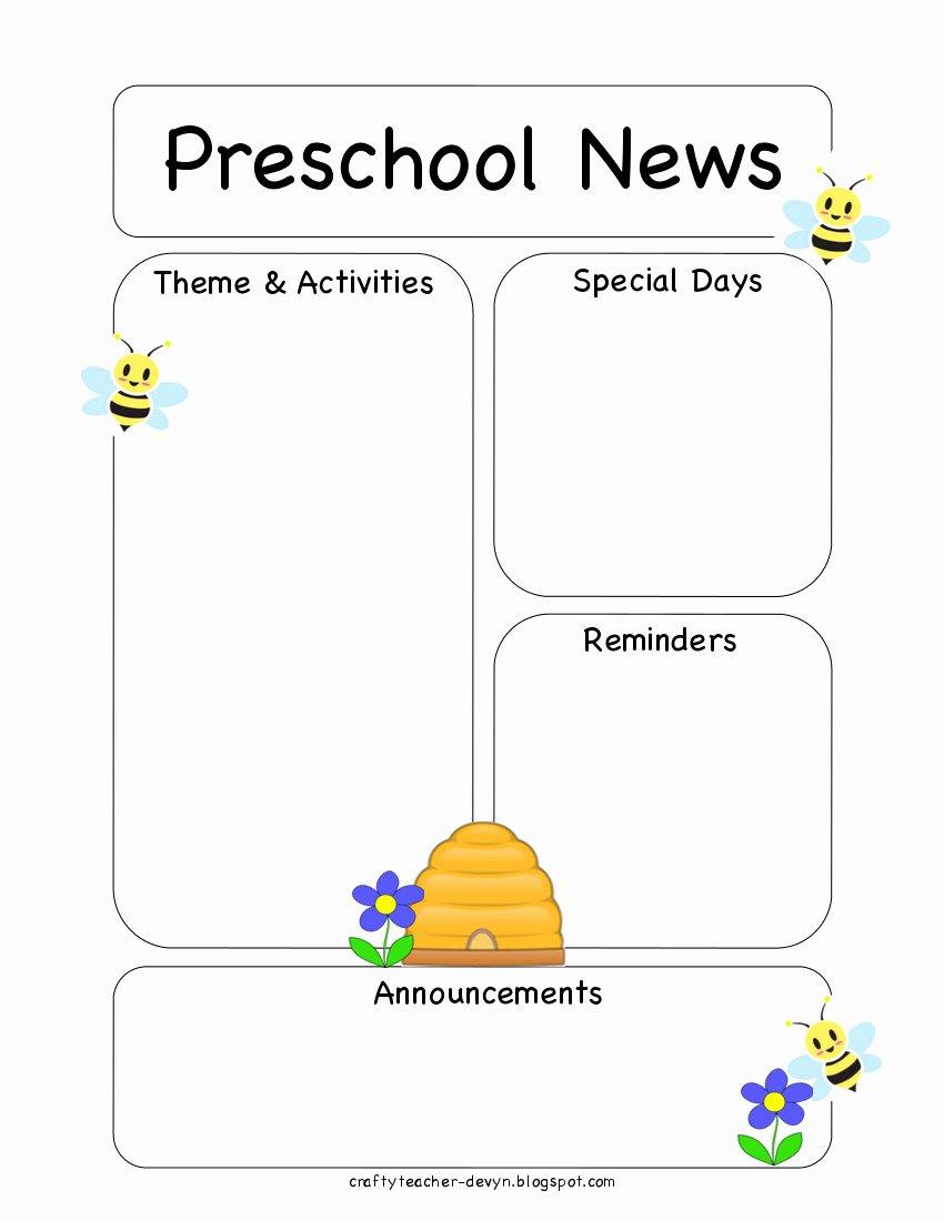 Printable Newsletter Templates Free Lovely Preschool Bee Newsletter Template