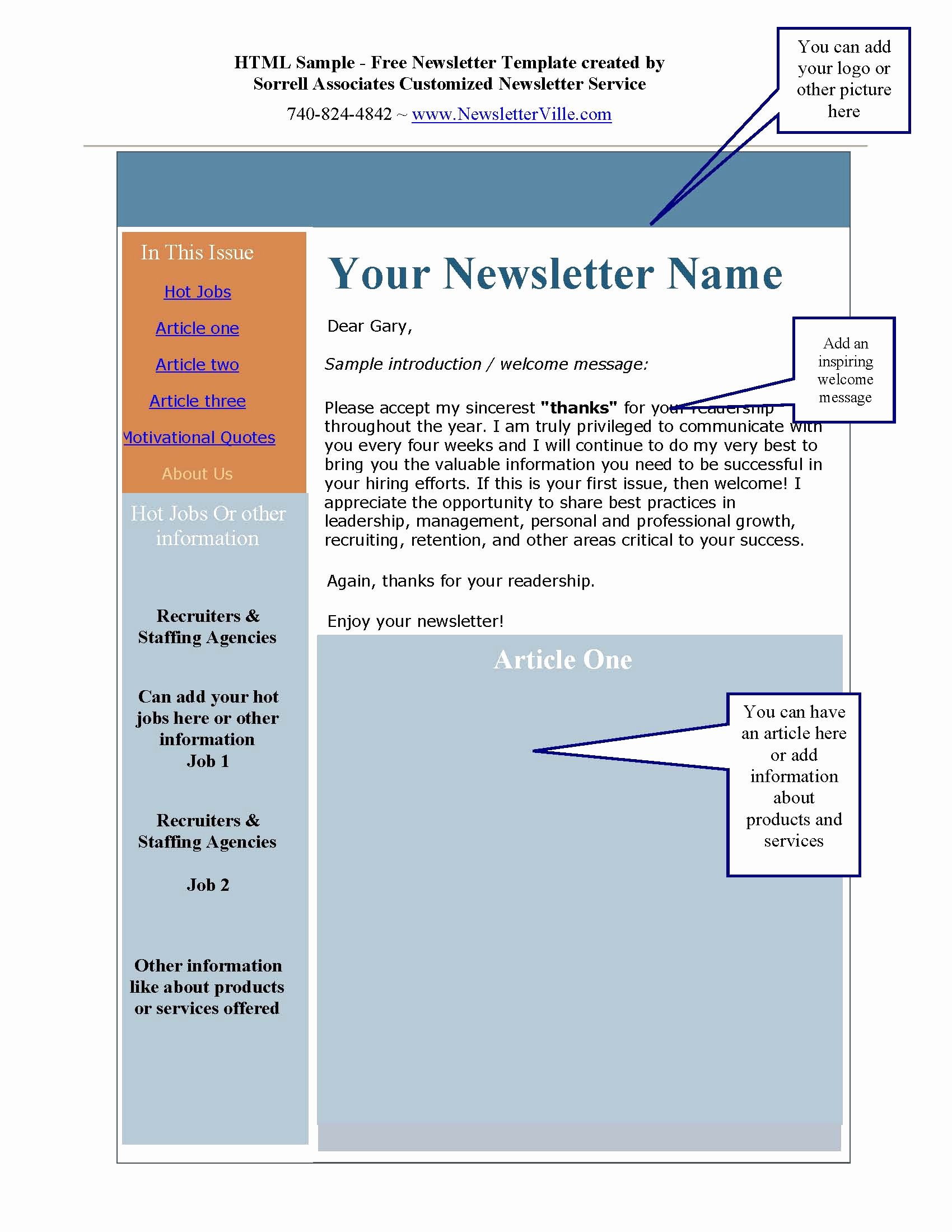 Printable Newsletter Templates Free Unique Newsletter & Blog Articles Provided Plus Free Newsletter