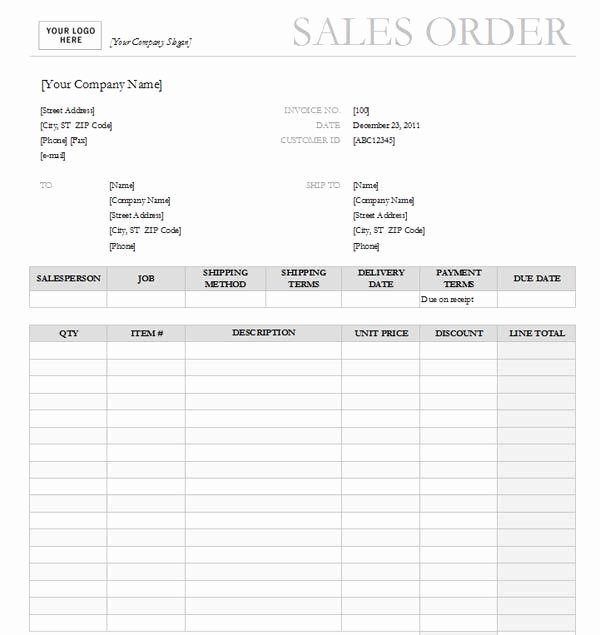 Printable order form Template Awesome Professional Sales order form Templates Printable Excel