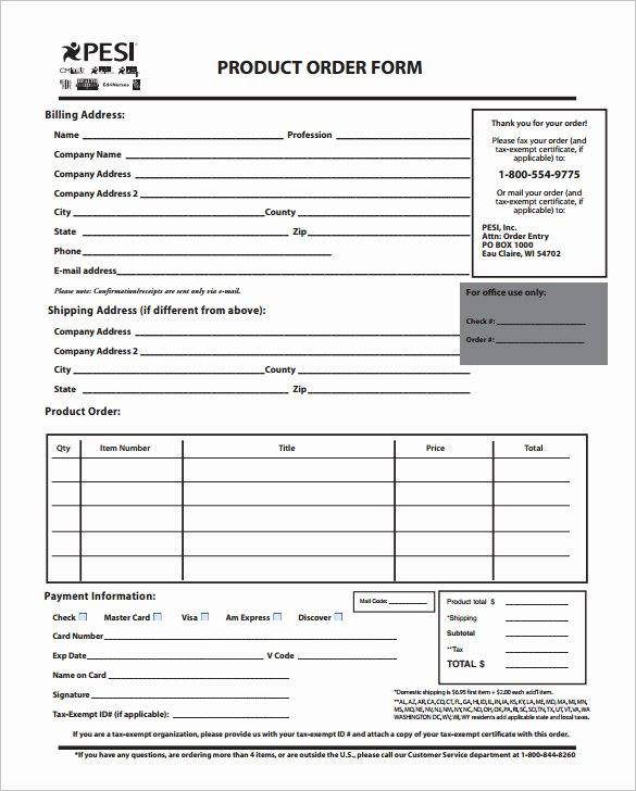 Printable order form Template Best Of order form Template – 27 Free Word Excel Pdf Documents