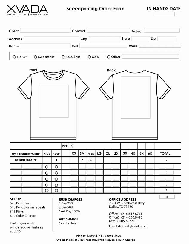 Printable order form Template Fresh Printable T Shirt order forms Templates