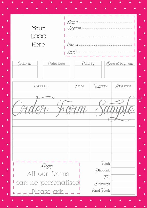 Printable order form Template Luxury order form Printable order form Work at Home Pdf File