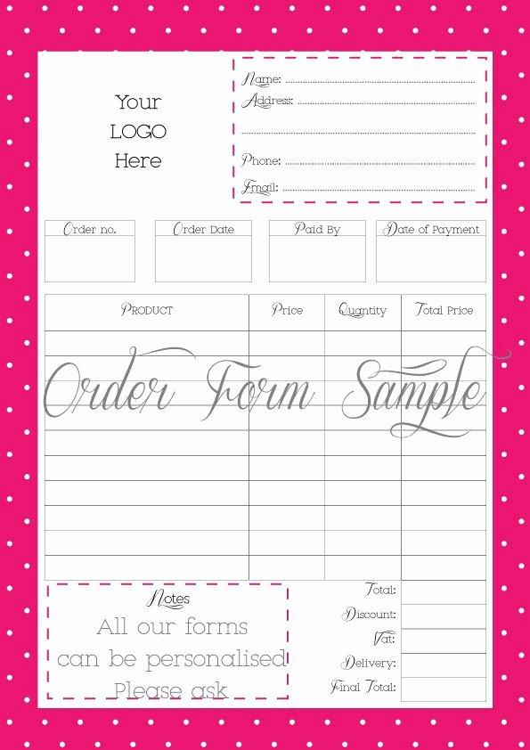 Printable order form Template Luxury order form Printable order form Work at Home Pdf File