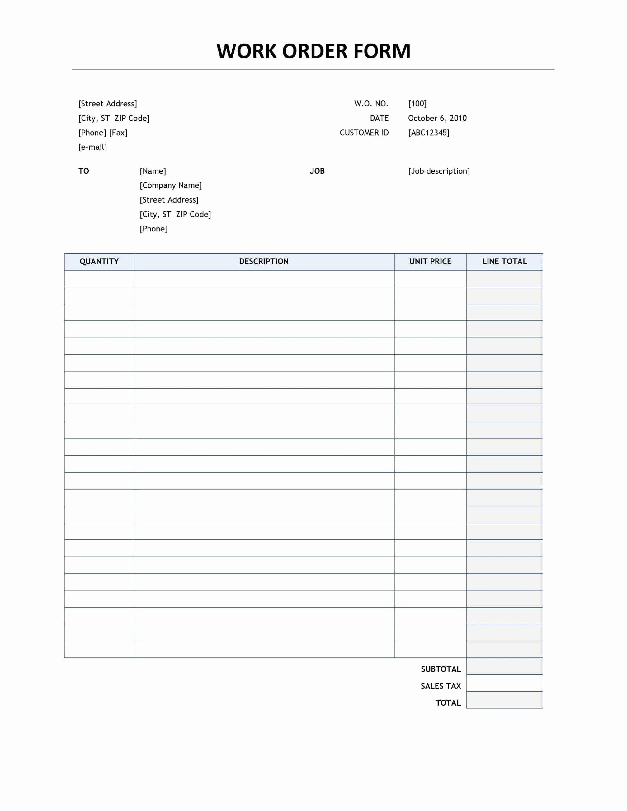 Printable order form Templates Luxury This Initiates the Responsibility Of Providing Details