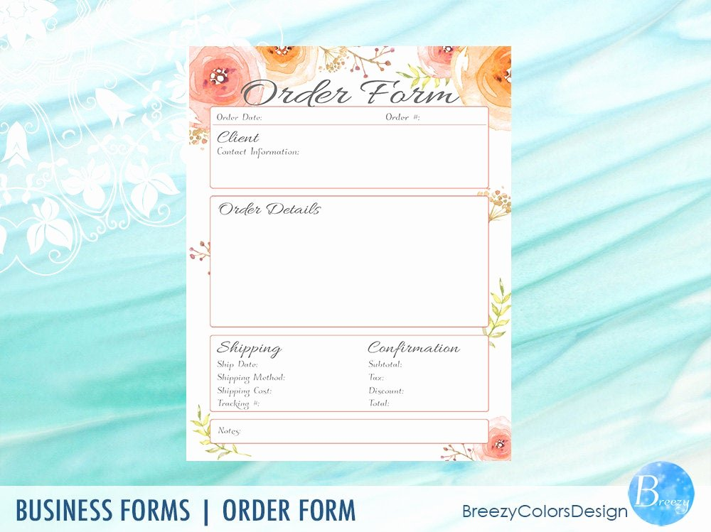 Printable order form Templates New order form Template Printable Floral Craft Show Sales
