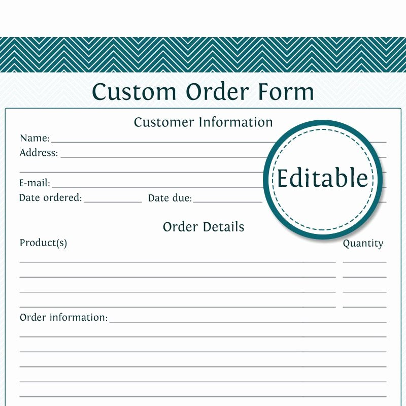 Printable order form Templates Unique Printable Customizable order form Custom order form