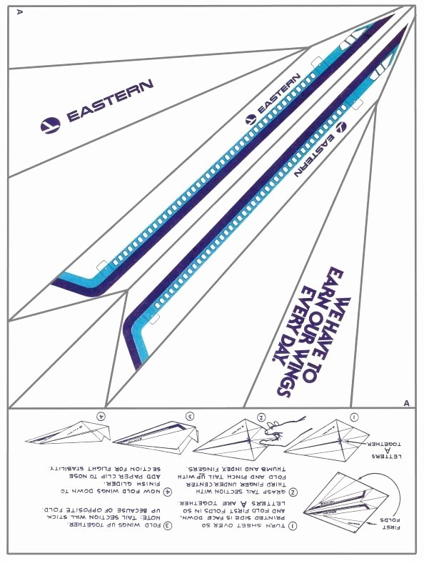Printable Paper Airplane Template Awesome Eastern Airlines Paper Airplane Print It Fold It
