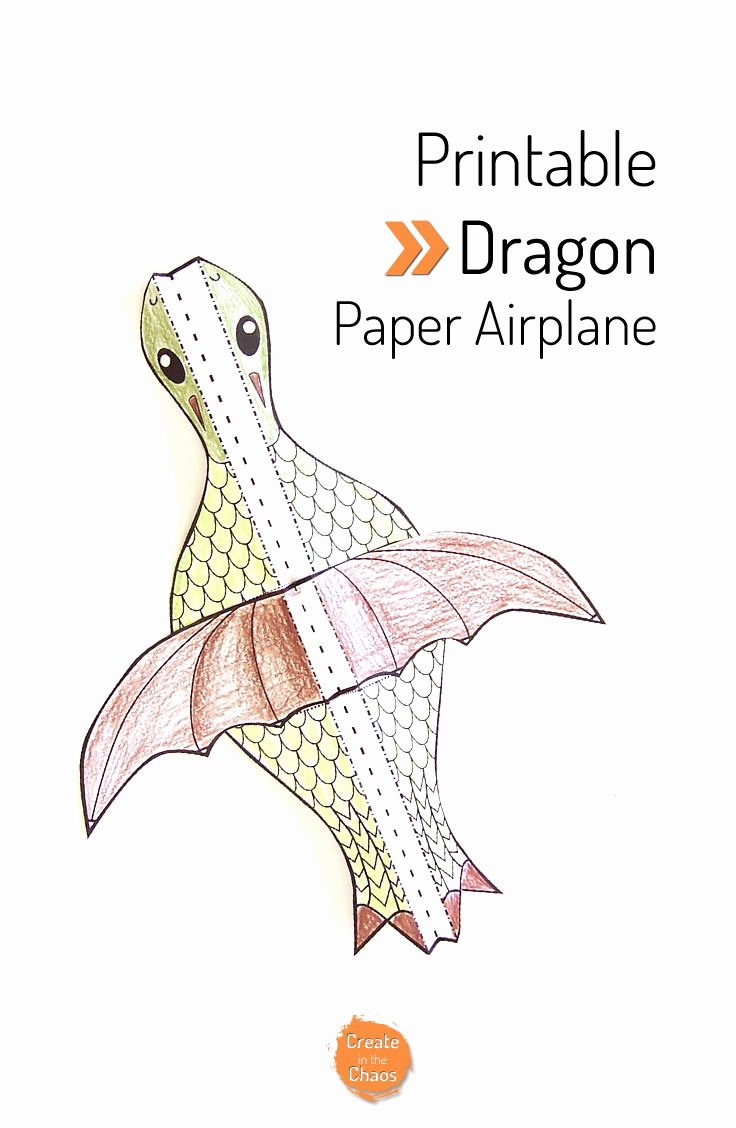 Printable Paper Airplane Template Beautiful Printable Flying Dragon Craft Create In the Chaos
