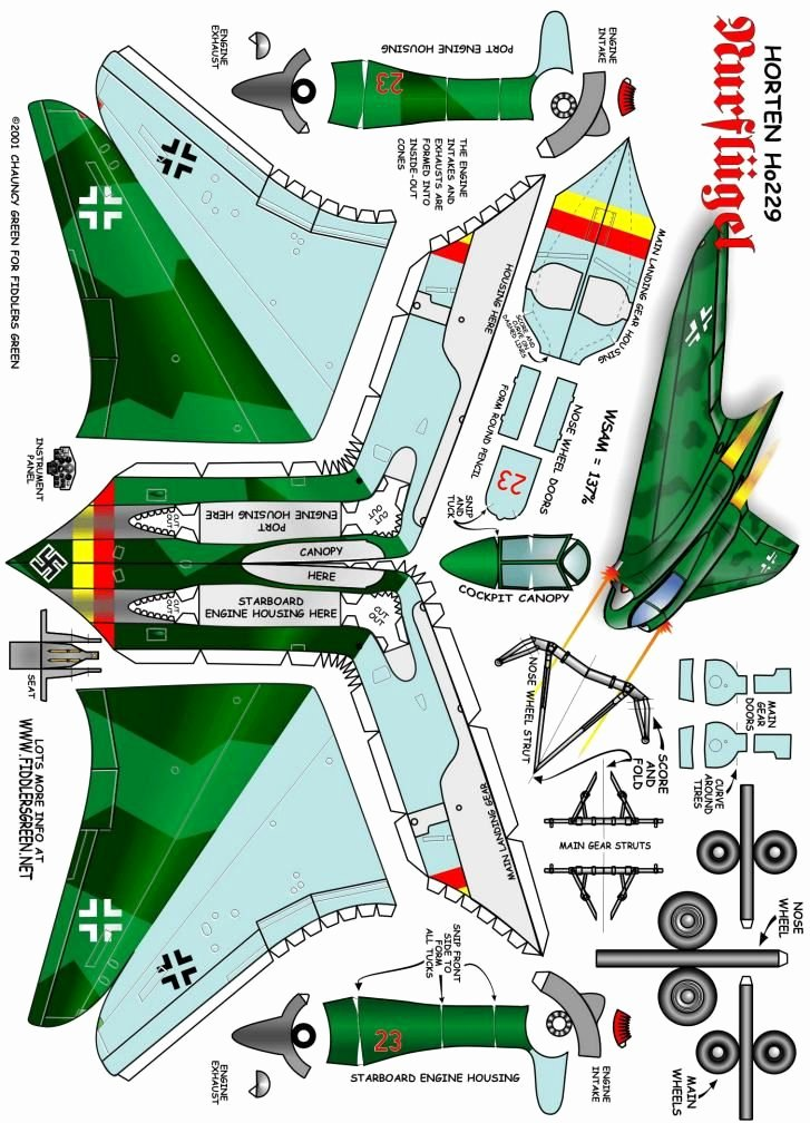 Printable Paper Airplane Template Unique Horten Ho 229 Craft Paper toys for Boys