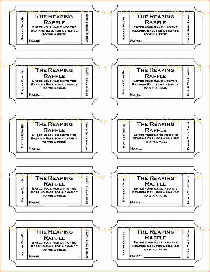 Printable Raffle Ticket Template Lovely 3 Printable Raffle Ticket Template