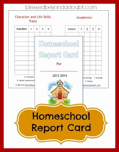 Printable Report Card Templates Awesome Free Homeschool Report Card form Blessed Beyond A Doubt