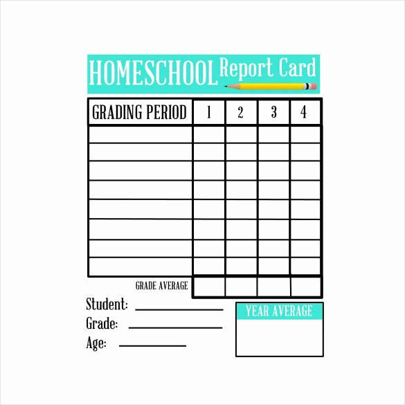 Printable Report Card Templates Awesome Sample Homeschool Report Card 7 Documents In Pdf Word