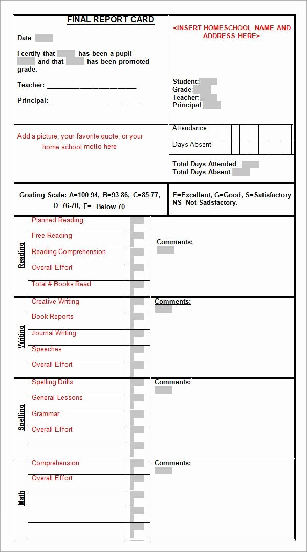 Printable Report Card Templates Fresh Sample Report Card Template 11 Download Documents In