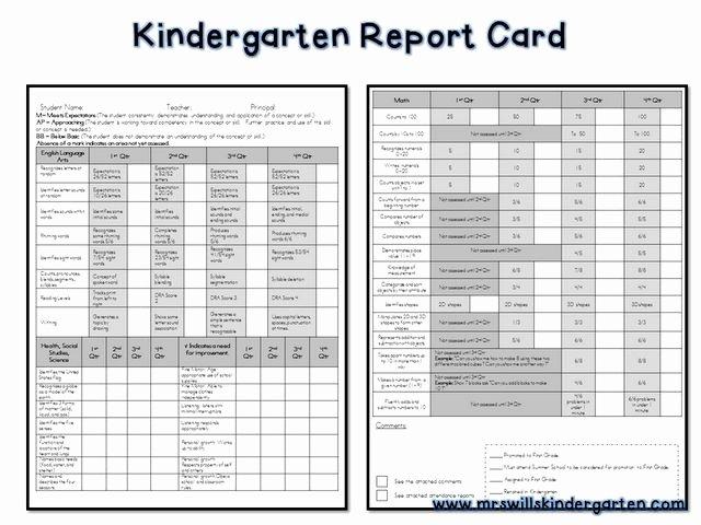 Printable Report Card Templates Luxury Kindergarten Report Card Free