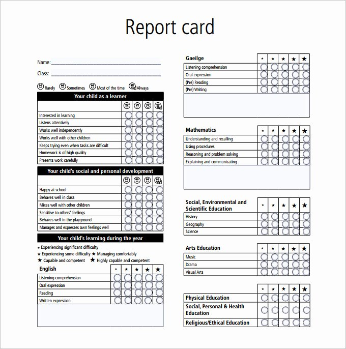 Printable Report Card Templates Luxury Report Card Template 28 Free Word Excel Pdf Documents