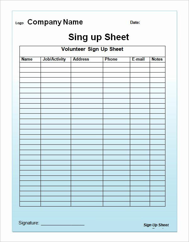 Printable Sign Up Sheet Template Awesome 27 Sample Sign Up Sheet Templates Pdf Word Pages Excel