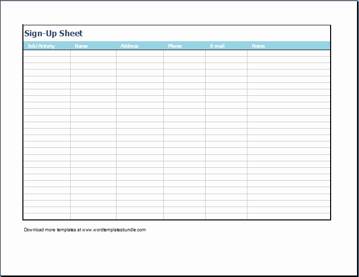 Printable Sign Up Sheet Template Best Of Editable Sign Up Sheet