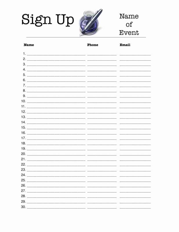 Printable Sign Up Sheet Template Elegant Editable Sign Up Sheet