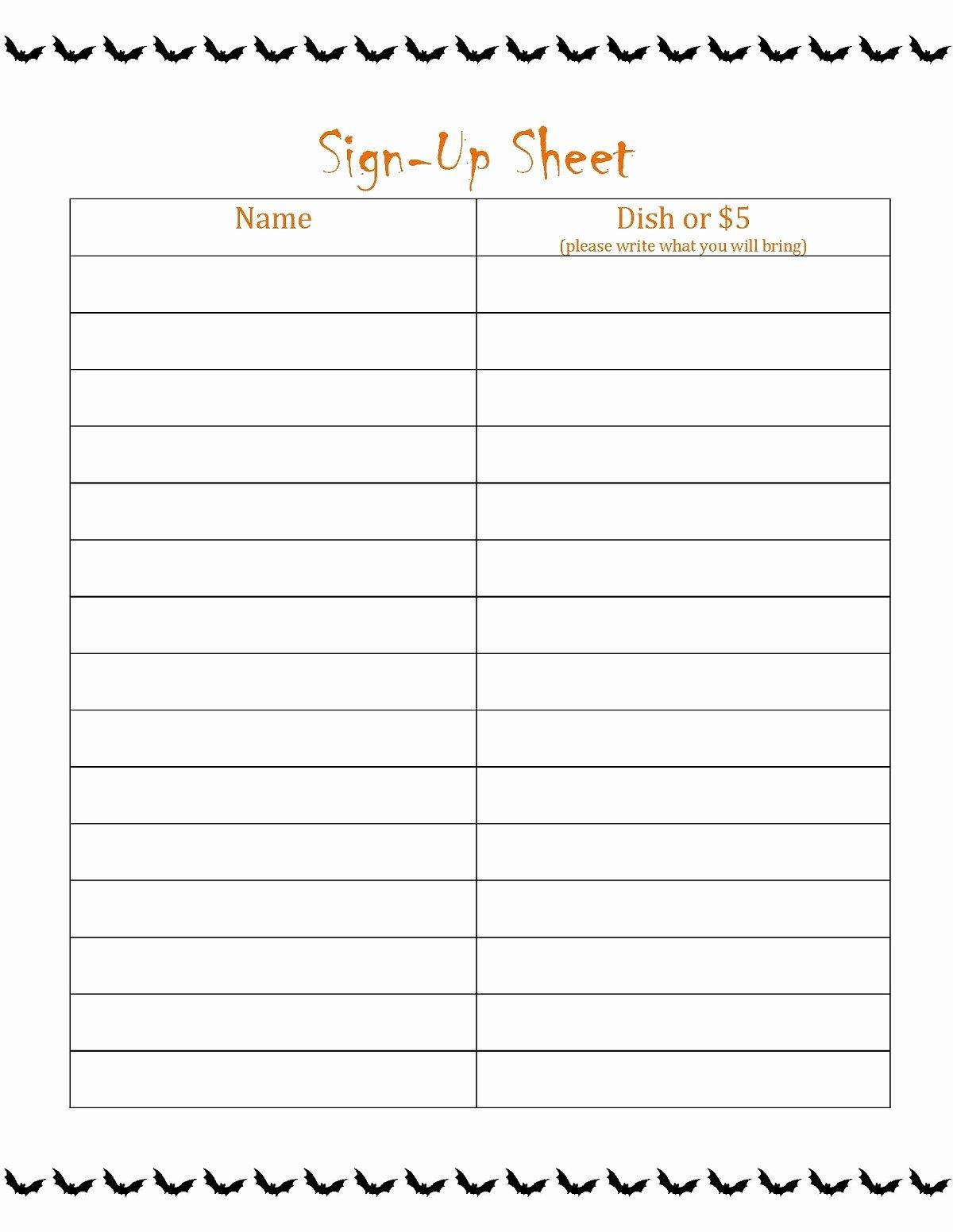 Printable Sign Up Sheet Template Elegant Free Printable Sign Up Sheet Printable