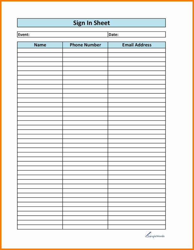 Printable Sign Up Sheet Template Elegant Printable Sign Up Sheet