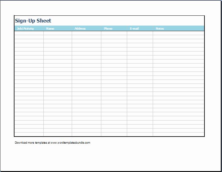 Printable Sign Up Sheet Template Inspirational Sign Up Sheet Template Microsoft Templates