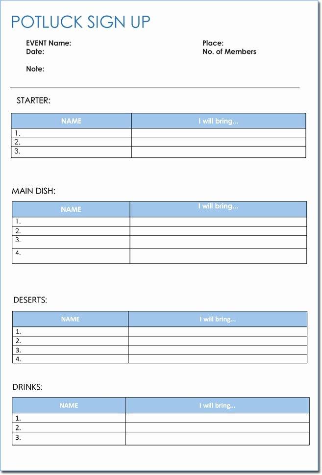Printable Sign Up Sheet Template New Signup Sheet Templates 40 Sheets Potluck