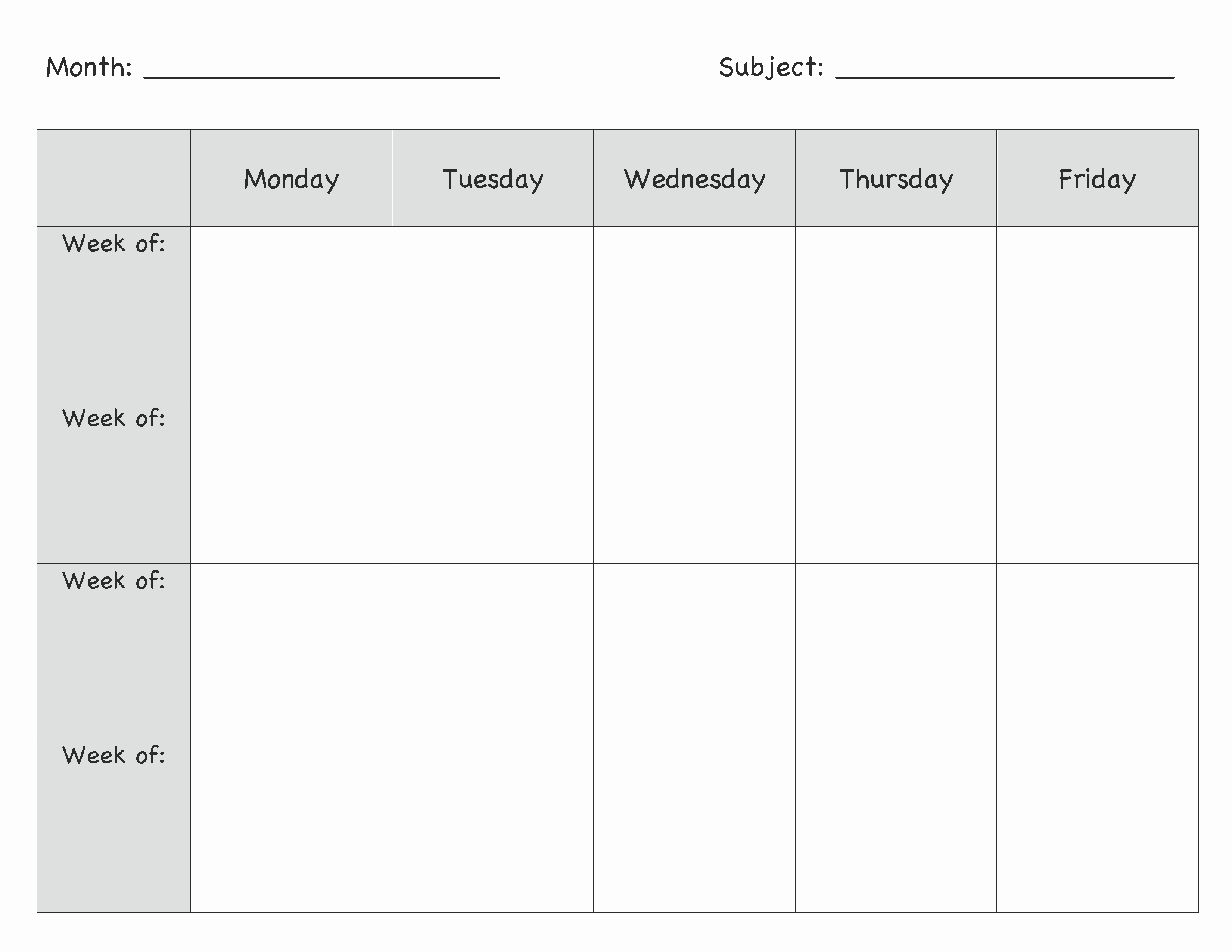 Printable Weekly Lesson Plan Templates Awesome Monthly Lesson Plan Template …