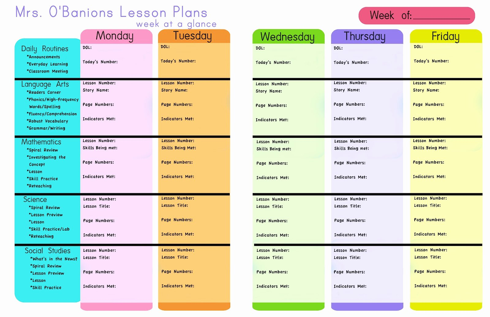 Printable Weekly Lesson Plan Templates Awesome Secondgradesweeties Lesson Plans and A Printable