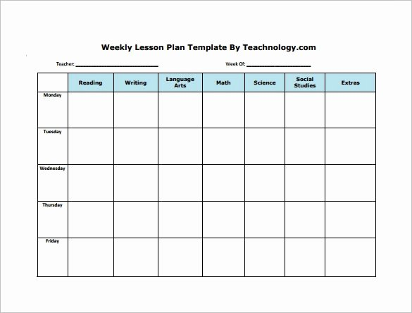 Printable Weekly Lesson Plan Templates Awesome Weekly Lesson Plan Template