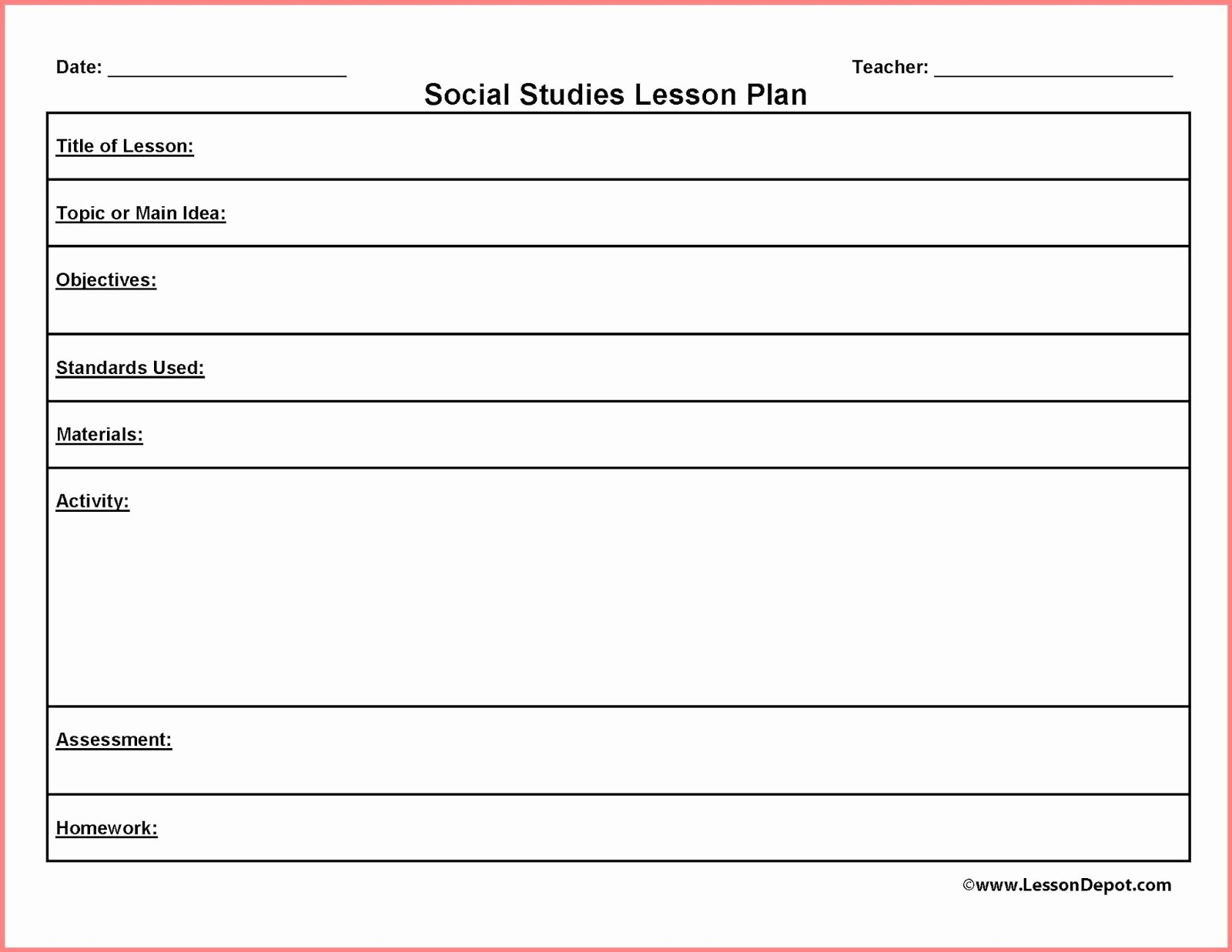 Printable Weekly Lesson Plan Templates Fresh Free Blank Lesson Plan Templates