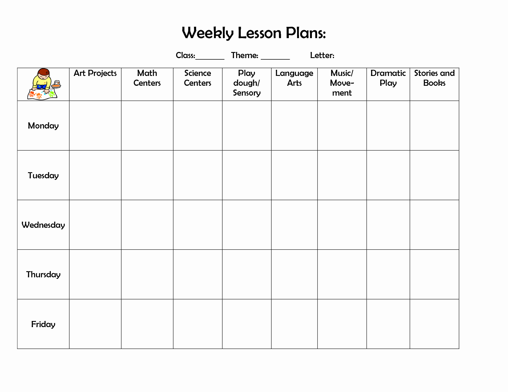 Printable Weekly Lesson Plan Templates Inspirational Infant Blank Lesson Plan Sheets