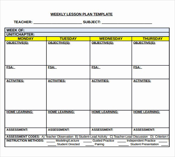 Printable Weekly Lesson Plan Templates Lovely Sample Middle School Lesson Plan Template 7 Free
