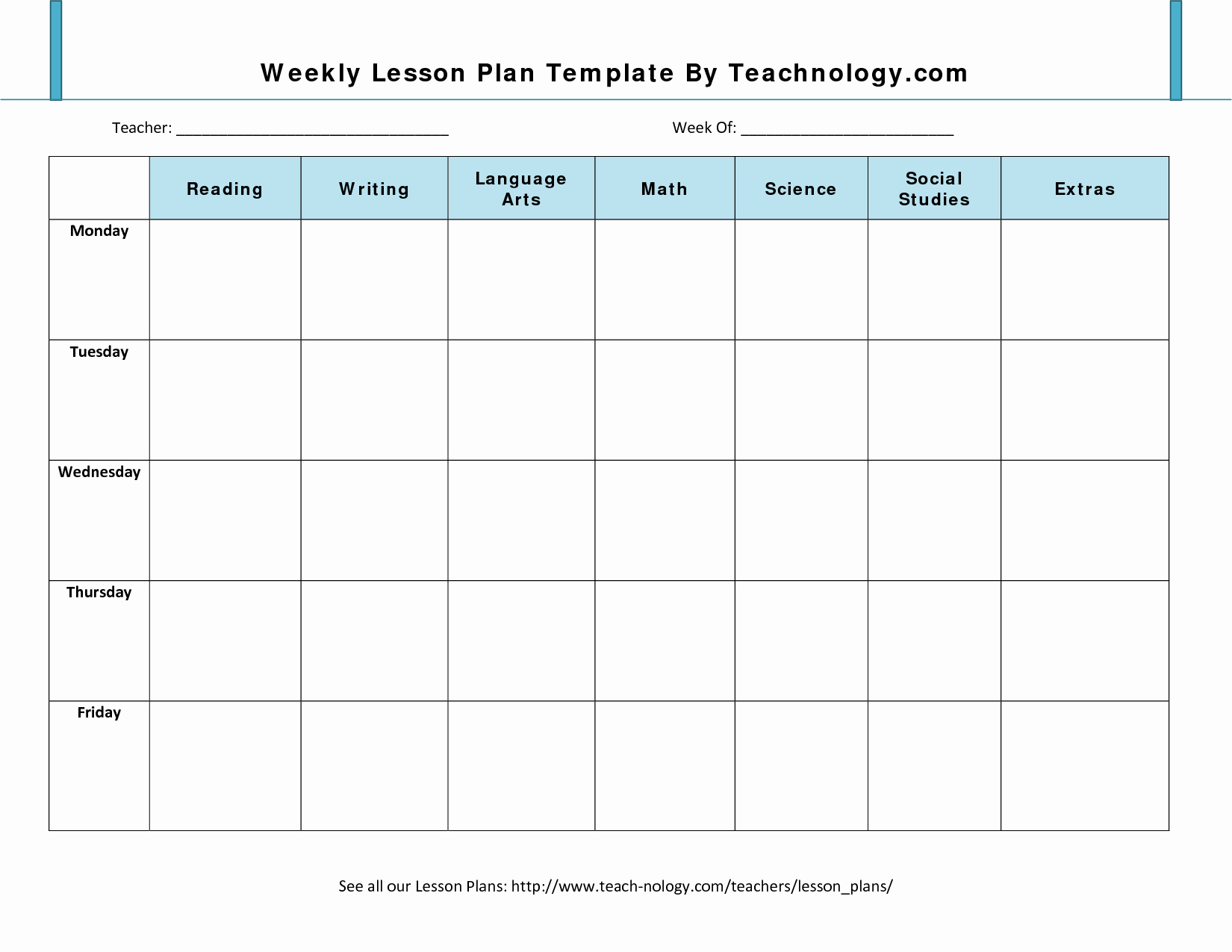 Printable Weekly Lesson Plan Templates New Best S Of Free Blank Weekly Lesson Plan Template
