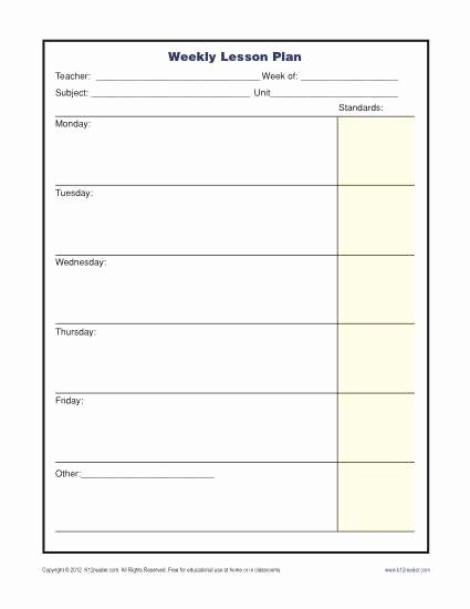 Printable Weekly Lesson Plan Templates New Weekly Lesson Plan Template with Standards Elementary