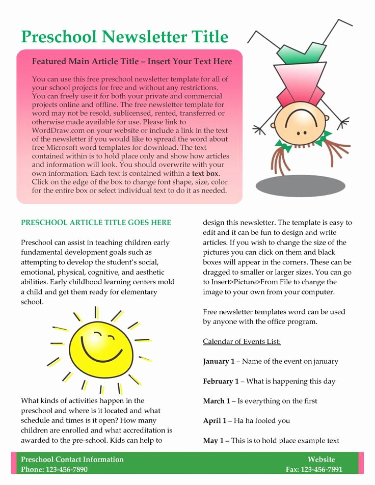 Printed Newsletter Templates Free Beautiful 17 Best Images About Sample Newsletters On Pinterest