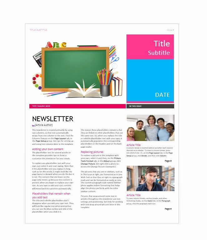 Printed Newsletter Templates Free Fresh 50 Free Newsletter Templates for Work School and Classroom