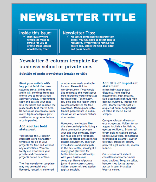 Printed Newsletter Templates Free New Word Newsletter Template – 31 Free Printable Microsoft