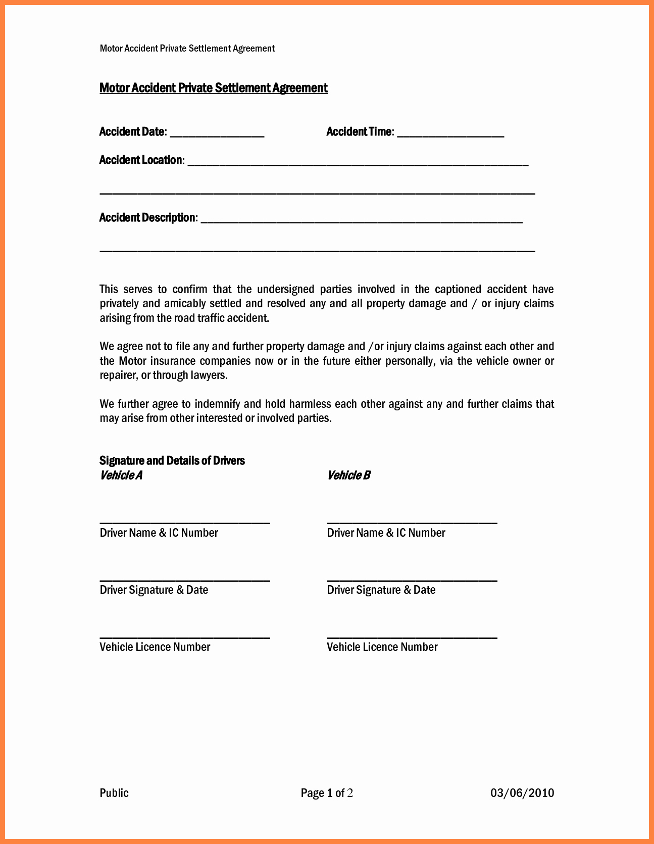 Private Child Support Agreement Template Awesome 5 Car Accident Settlement Calculator