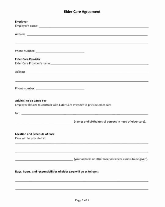 Private Child Support Agreement Template Awesome Free Printable Pdf form Elder Care Agreement